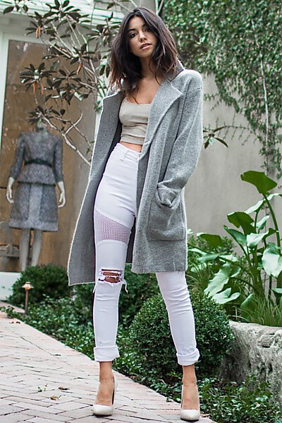 Open Long Sweater Cardigan Coat W Pockets-Heather Grey