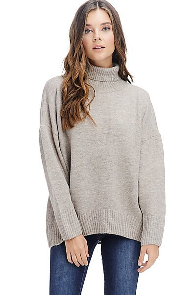 Pullover Turtleneck Sweater Top - Warm Winter Mock Neck-Beige