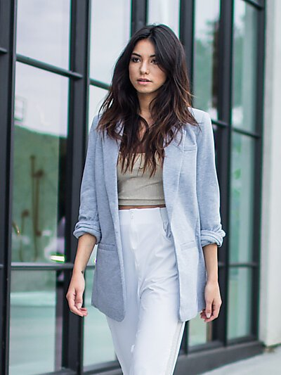 Open Suit Blazer Jacket w/ 3/4 Cuff Sleeves-Heather Grey