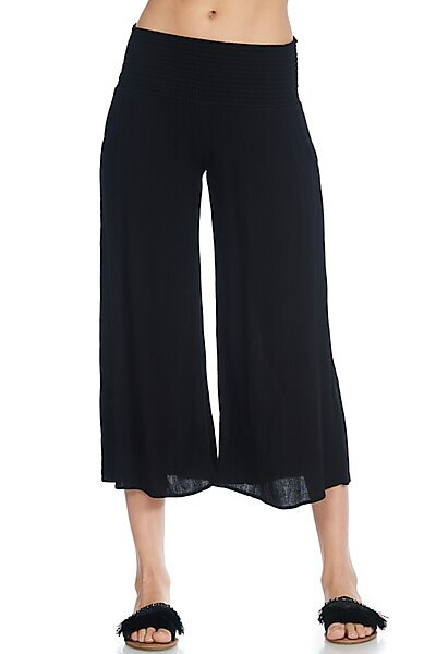 Casual Pre-Washed Summer Capri Pants with Elastic Waist-Black