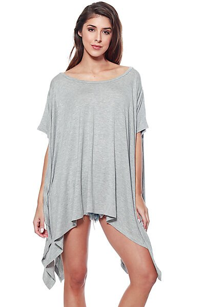 Flared Solid Knit Poncho Tunic Top-Grey