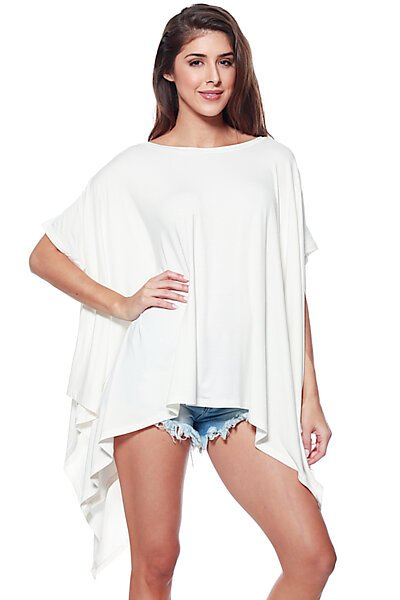 Flared Solid Knit Poncho Tunic Top-Ivory