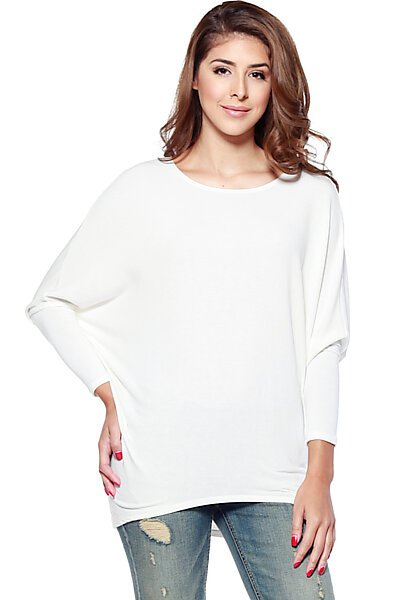 French Terry Top w/ Dolman Sleeve & Fitted Hem-Ivory