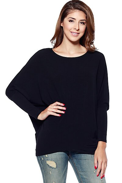 French Terry Top w/ Dolman Sleeve & Fitted Hem-Black