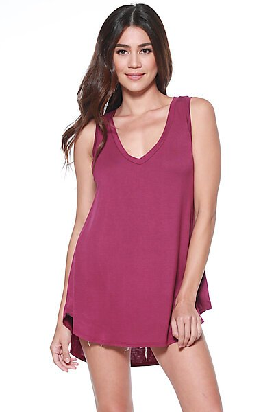Casual Loose Knit V-neck Tank with Uneven Hem-Magenta Purple