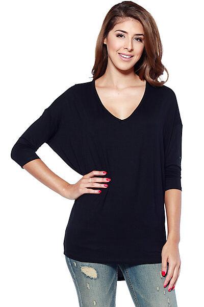 Oversized Knit V-neck Tunic Top W/ Dolman Sleeves-Black
