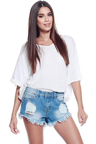 Basic Slub VNeck Dolman Sleeve Top W/ Uneven Hem-White