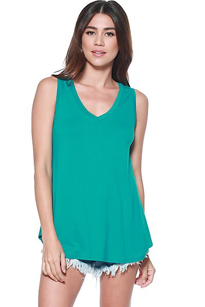 Casual Loose Knit V-neck Tank with Uneven Hem-Fan Fare