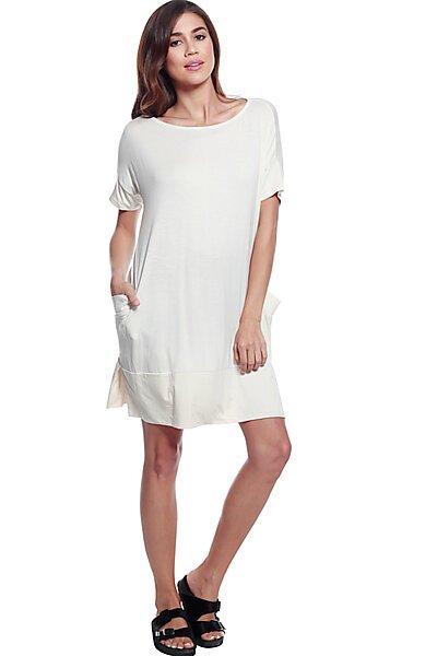 Soft Knit Round Neck Top W/ Side Slit & Side Pockets-Cream