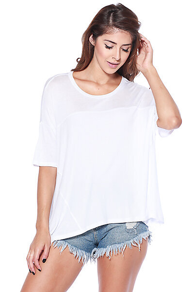 Casual Short Sleeve Round Neck Relax Blouse T-Shirt Top-White