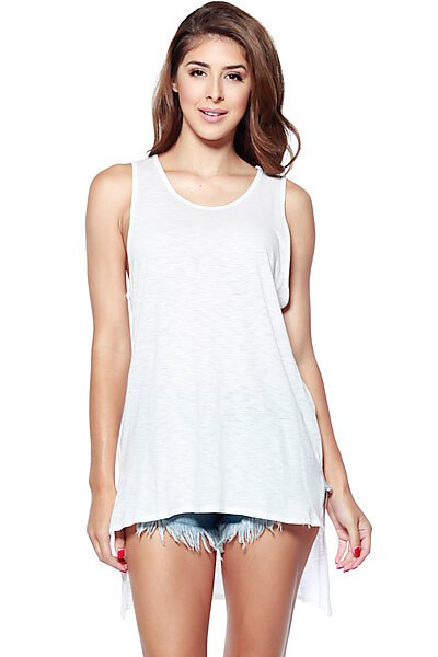 Burnout Loose Fit High-Low Hem Tank Top with Scoop Neck- White