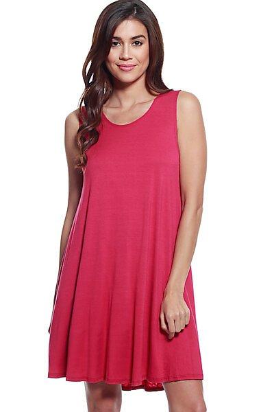 Loose Fit Flowy Stretch Knit Tank Midi Dress-Berry
