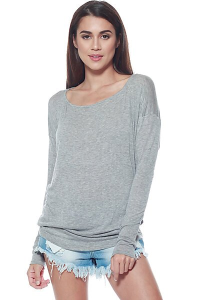 Thin Knit Dolman Sleeve Top W/ Round Hem-Heather Grey
