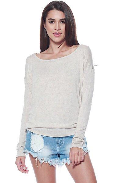 Thin Knit Dolman Sleeve Top W/ Round Hem-Oatmeal