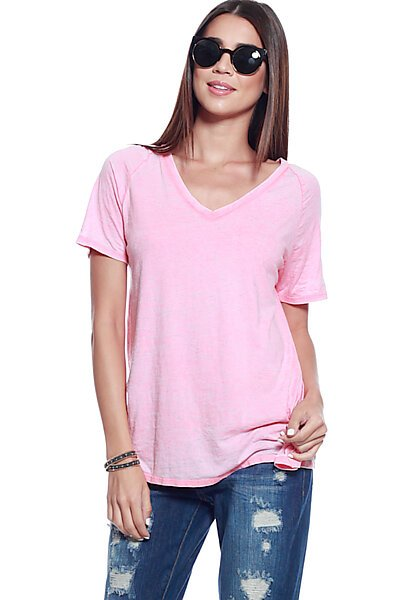 Burnout V-NK Raglan Sleeve Loose Fitting Boyfriend Top-Pink