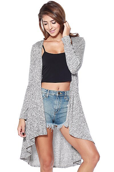 Two Tone Drape Front Knit Cardigan-Grey Black