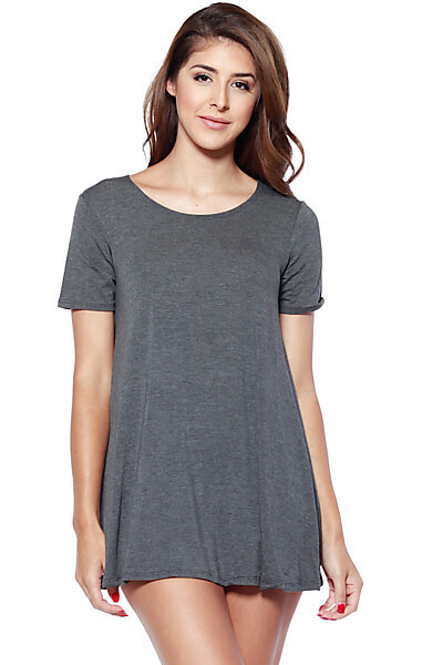 Shortsleeve Loose Flowy Stretch Knit Crewneck Tunic-Charcoal