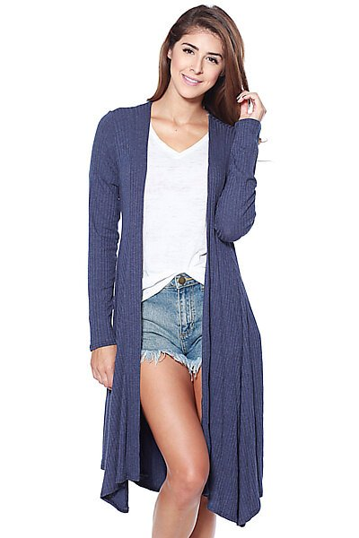 Long Ribbed Knit Cardigan with Waist Tie-Navy
