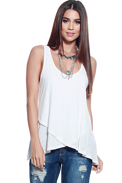 Slub Knit Double Layer Trapeze Hem Tank Top-White
