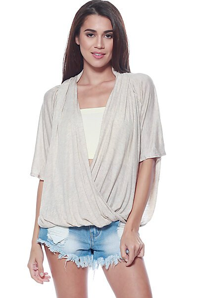 Open Cross Over Drape Front Knit Top-Oatmeal