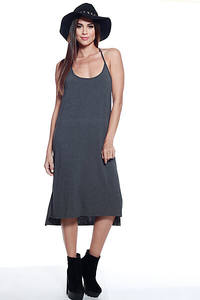 Casual Knee Length Loose Fit T-strap Shift Dress-Charcoal