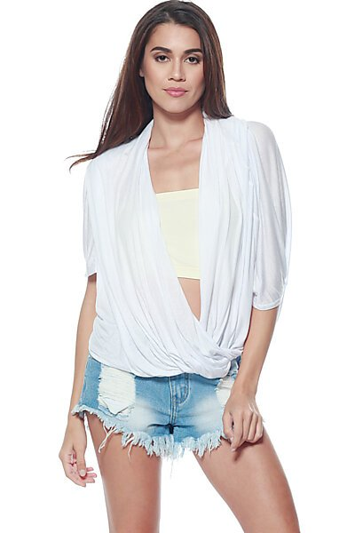 Open Cross Over Drape Front Knit Top-White