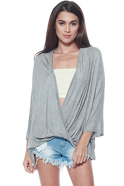 Open Cross Over Drape Front Knit Top-Heather Grey