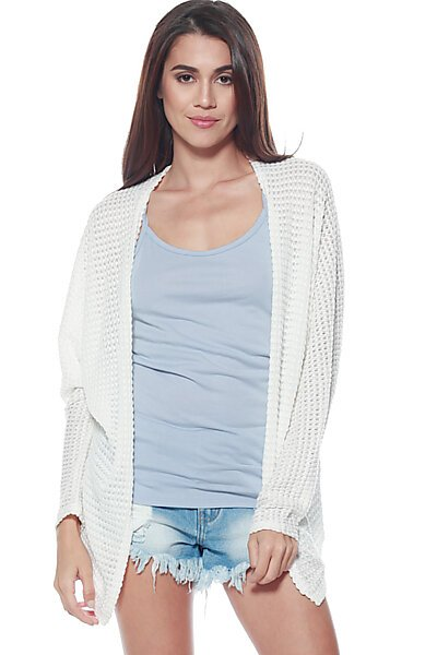 Sweater Knit Cardigan W/ Open Front-White