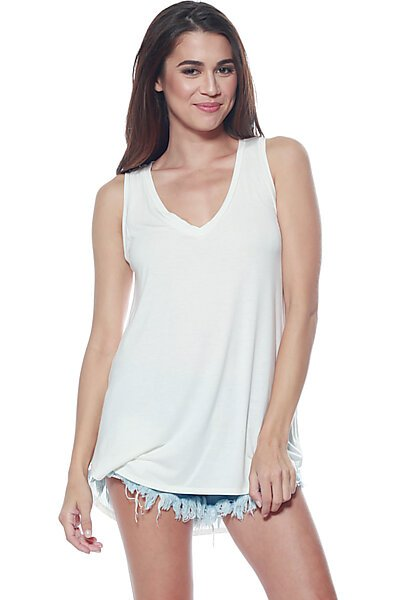 Casual Loose Knit V-neck Tank with Uneven Hem-Ivory