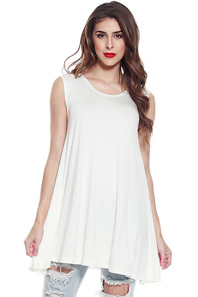 Loose Fit Flowy Stretch Knit Crewneck Tank Tunic-Ivory