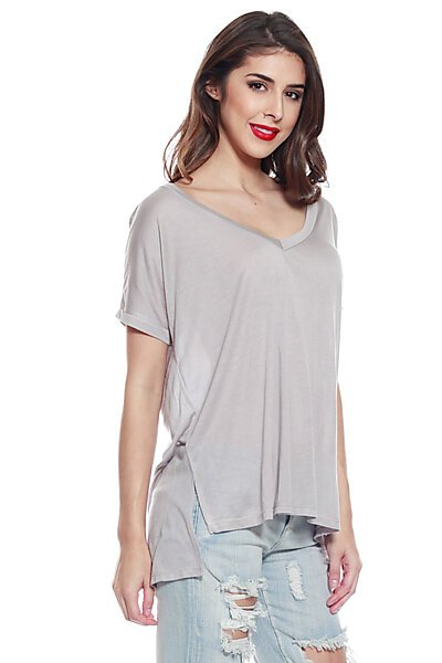 Soft Stretch Knit Vneck Top w/ Side Slit & Uneven Hem-Grey