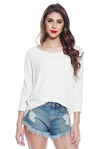 Soft Knit & 3/4 Dolman Sleeve w/ Hi Low Top-Ivory