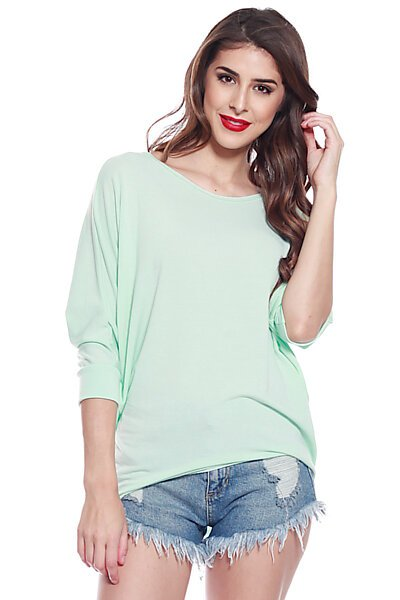 Soft Knit & 3/4 Dolman Sleeve w/ Hi Low Top-Mint