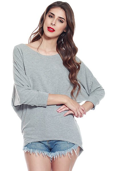 Soft Knit & 3/4 Dolman Sleeve w/ Hi Low Top-Heather Grey