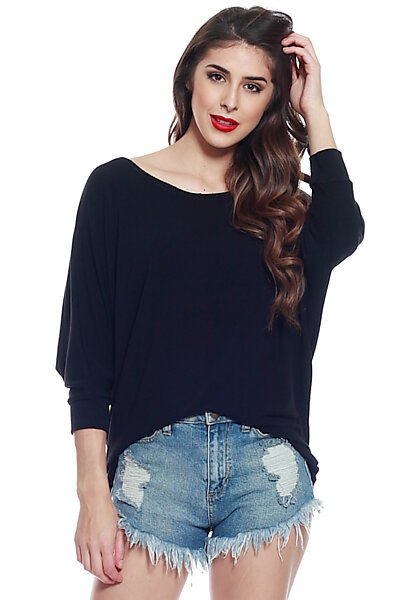 Soft Knit & 3/4 Dolman Sleeve w/ Hi Low Top-Black