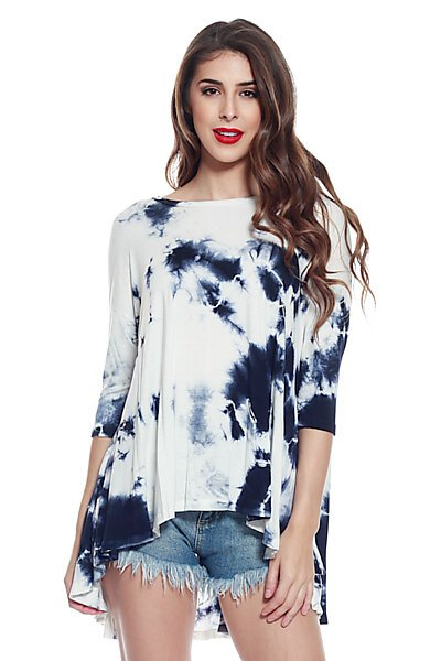 Cloud Dye Loose Fit Knit Top with Flared High Low Hem-Navy Ivory