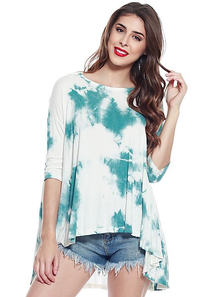 Cloud Dye Loose Fit Knit Top with Flared High Low Hem-Teal