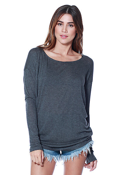 Thin Knit Dolman Sleeve Top W/ Round Hem-Charcoal