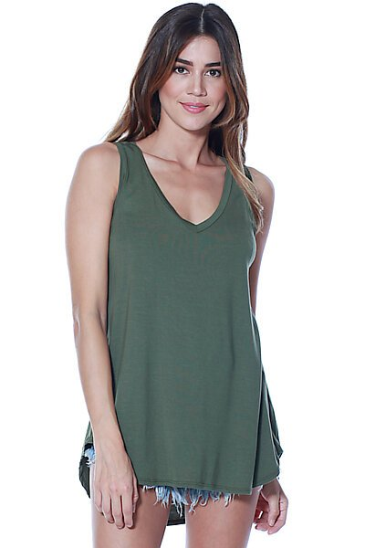 Casual Loose Knit V-neck Tank with Uneven Hem-Dark Olive