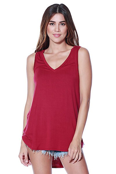 Casual Loose Knit V-neck Tank with Uneven Hem-Rumba Red