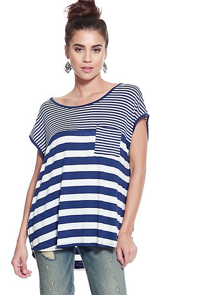 Mix Stripe One Pocket Loose Fit Stretch Knit Top-Navy White