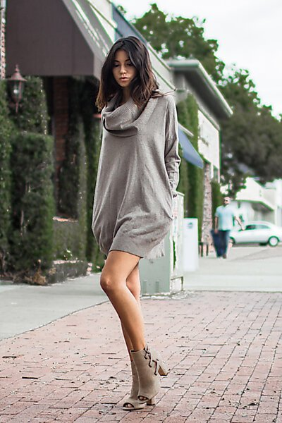 Oversized Cowl Neck Knit Sweater Tunic W Side Pocket-Mocha