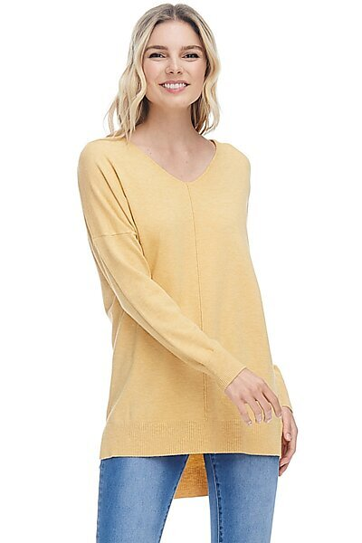 Oversized V-Neck Pullover Sweater Top W Slight Hi-Low-Heather Yellow