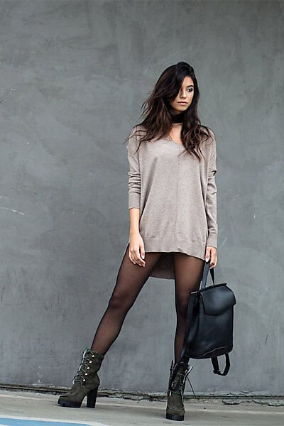 Oversized V-Neck Pullover Sweater Top W Slight Hi-Low-Mocha