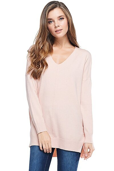 0ec07f35a030b Oversized V-Neck Pullover Sweater Top W Slight Hi-Low-Pink
