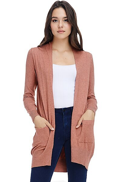 Basic Open Front Knit Cardigan With Pockets-Heather Coral