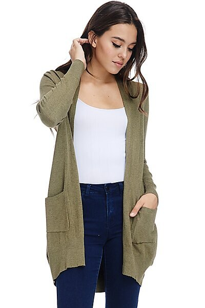 Basic Open Front Knit Cardigan With Pockets-Light Olive
