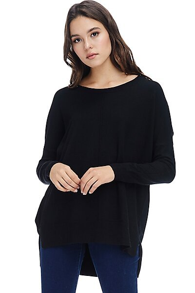 Casual Oversized Crew Neck Pullover Sweater with Hi-Low-Black