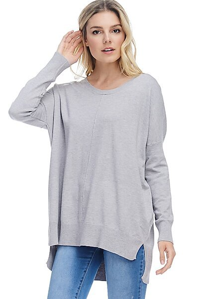 Casual Oversized Crew Neck Pullover Sweater with Hi-Low-Heather Grey