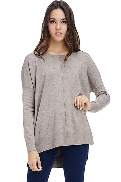 Casual Oversized Crew Neck Pullover Sweater with Hi-Low-Mocha